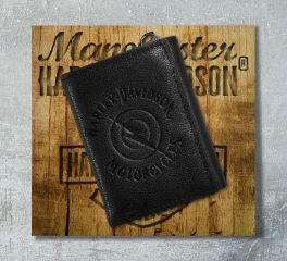 Harley-Davidson® Men's Black Leather Lightning Bolt Tri-Fold Wallet 97702-18VM