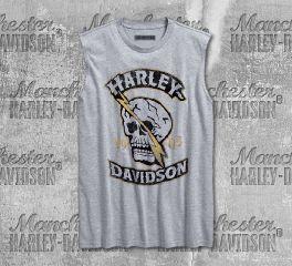 Harley-Davidson® Men's Heather Grey Skull Lightning Slim Fit Muscle Tee 96226-18VM
