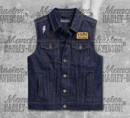 Harley-Davidson® Men's Dark Indigo Loud & Proud Slim Fit Denim Vest 96239-18VM