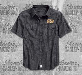 Harley-Davidson® Men's Black Denim Slim Fit Short Sleeve Shirt 96233-18VM