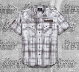 Harley-Davidson® Men's Plaid Washed Printed Plaid Short Sleeve Shirt 96189-18VM