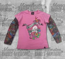 Harley-Davidson® Little Girl's Glittery Tee with Mesh Tattoo Sleeves, OkisOnent GmbH 1020611