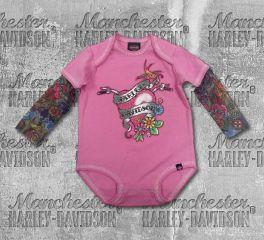 Harley-Davidson® Baby Girl's Glitter Infant Creeper with Mesh Tattoo Sleeves, OkisOnent GmbH 3010611