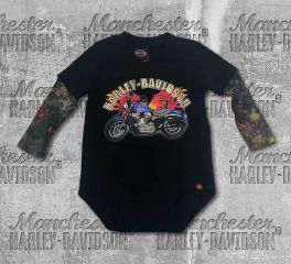 Harley-Davidson® Baby Boy's Motorcycle Newborn Creeper with Tattoo Sleeves, OkisOnent GmbH 3050641
