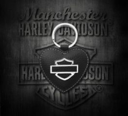 Harley-Davidson® Women's Bar & Shield Heart Medallion Key Fob, Leather Accessory Source ZWL5898