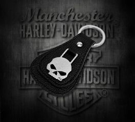Harley-Davidson® Willie G Skull Medallion Key Fob, Leather Accessory Source XFL0023