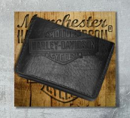 Harley-Davidson® Men's Black Bison Classic Tri-Fold Wallet, Leather Accessory Source US1836L