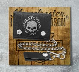 Harley-Davidson® Men's Embroidered Skull Trucker Medium Wallet, Leather Accessory Source XML6187