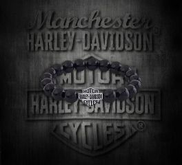 Harley-Davidson® Silver with Onyx Stone Bracelet, Silver Studio Co. Ltd. HDBR169
