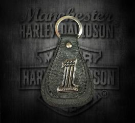 Harley-Davidson® Men's No.1 Medallion Teardrop Key Fob, Leather Accessory Source XFL0084