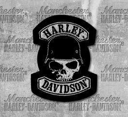 Harley-Davidson® Skull Wearing Helmet Embroidered Emblem Patch, Global Products, Inc. EM786062