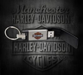 Harley-Davidson® B&S® Metal USB 8GB Leather Black Keychain, Global Products, Inc. KY51664