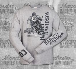 Harley-Davidson® Men's Grey Racer Side Skyline II Long Sleeve Tee, RK Stratman Inc. R002754