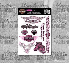 Harley-Davidson® Women's Dazzle Glitter Pink Temporary Tattoo Sheet, Global Products, Inc. TT1235