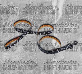 Harley-Davidson® 6 Feet Abstract Flames Black & Orange Pet Dog Leash H0366-HAF06