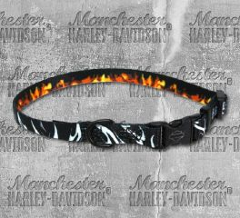 Harley-Davidson® Bar & Shield® Abstract Flames Adjustable Pet Collar H6321-H-HAF12