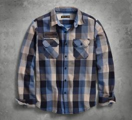 Harley-Davidson® Eagle Patch Plaid Slim Fit Shirt 96285-18VM