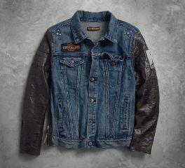 Harley-Davidson® No1 Leather Sleeve Slim Fit Denim Jacket 97467-18VM