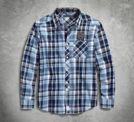 Harley-Davidson® Skull Lightning Slim Fit Plaid Shirt 96237-18VM