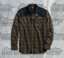 Harley-Davidson® Men's Denim Accent Plaid Long Sleeve Shirt 96539-19VM