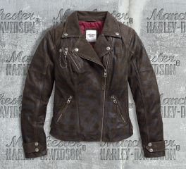 Harley-Davidson® Women's Haunt Plaid Leather Biker Jacket 97164-17VW