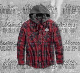 Harley-Davidson® Hooded Slim Fit Plaid Shirt 96529-19VM
