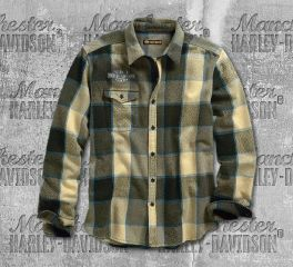 Harley-Davidson® High Density Print Plaid Slim Fit Shirt 96514-19VM