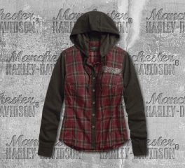 Harley-Davidson® Jersey Sleeve Hooded Plaid Shirt 96336-19VW