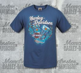Harley-Davidson® Men's Blue Race Time Short Sleeve Tee, RK Stratman Inc. R002911
