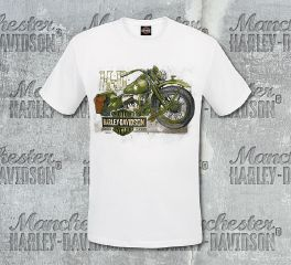 Harley-Davidson® Men's White Sketch Military Short Sleeve Tee, RK Stratman Inc. R002906