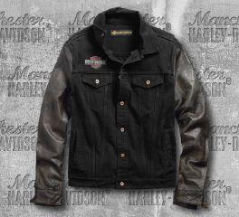 Harley-Davidson® Leather Sleeve Slim Fit Denim Jacket 99183-19VM