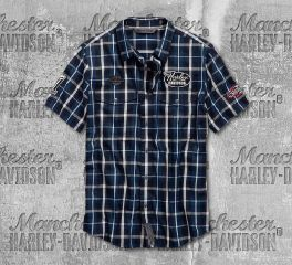 Harley-Davidson® Multi-Patch Slim Fit Plaid Shirt 99145-19VM