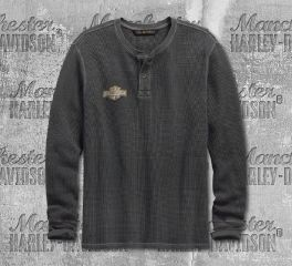 Harley-Davidson® Washed Waffle Knit Slim Fit Henley 99142-19VM