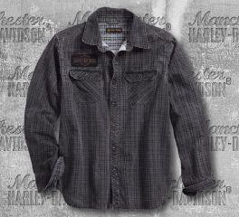 Harley-Davidson® Canvas Patch Printed Plaid Slim Fit Shirt 96264-18VM