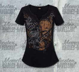 Harley-Davidson® Women's Notched Skull Black Short Sleeve Tee, RK Stratman Inc. R002881