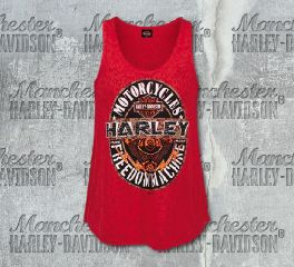 Harley-Davidson® Women's Oval Shine Burnout Red Tank Top, RK Stratman Inc. R002866