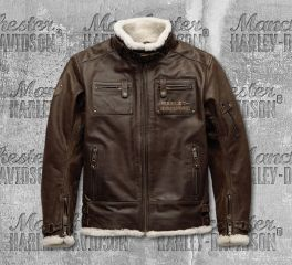 Harley-Davidson® Men's Brown Haxen Slim Fit Leather Jacket 97025-19EM