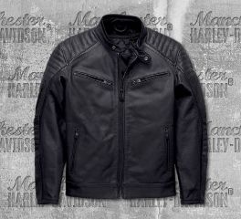 Harley-Davidson® Men's Black Wrayburn Leather Slim Fit Jacket 97019-19EM