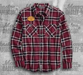 Harley-Davidson® Men's Multi-Patch Slim Fit Plaid Shirt 96606-19VM