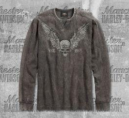 Harley-Davidson® Men's Winged Skull Waffle Knit Long Sleeve Tee 96575-19VM