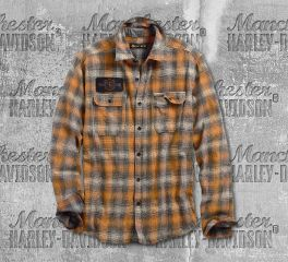 Harley-Davidson® Men's Flocked Eagle Slim Fit Plaid Long Sleeve Shirt 96561-19VM
