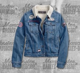 Harley-Davidson® Women's Sherpa Fleece Denim Jacket 96380-19VW