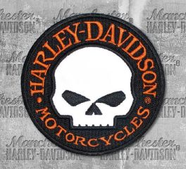 Harley-Davidson® Reflective Willie G. Skull Round Embroidered Patch, Global Products, Inc. EM1029642