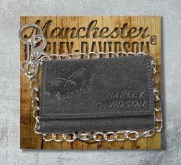 Harley-Davidson® Men's Skull Graphite TriFold Medium Leather Wallet, Leather Accessory Source UN4618L