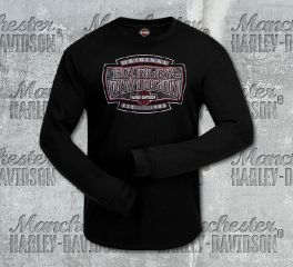 Harley-Davidson® Men's H-D® Shield Black Long Sleeve Tee, RK Stratman Inc. R002932