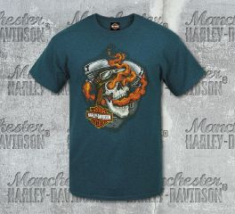 Harley-Davidson® Men's Flame Yell Dark Cyan Short Sleeve Tee, RK Stratman Inc. R002915