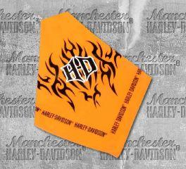 "Harley-Davidson® H-D® Tribal Flames Pet Tie Orange 30"" Bandana, Nostalgic Art H2300-H-OR230"