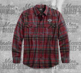 Harley-Davidson® Men's High Density Print Plaid Shirt 96593-19VM