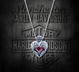 Harley-Davidson® Women's Winged Heart with Red Crystal Necklace, MOD Jewelry Group Inc. HDN0345