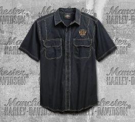 Harley-Davidson® Men's Black Woven Short Sleeve Shirt 96642-19VM